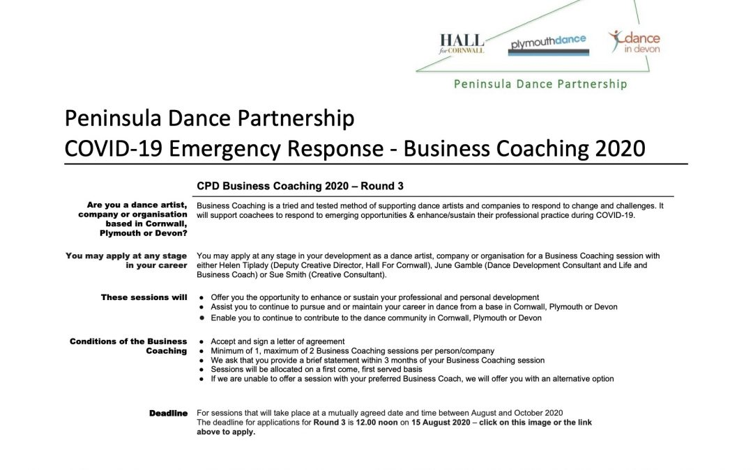 Peninsula Dance Partnership – Business Coaching Round 3