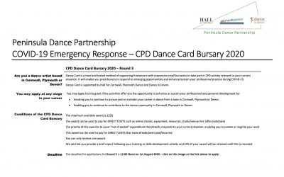 Peninsular Dance Partnership CPD Dance Card Bursary Round 3